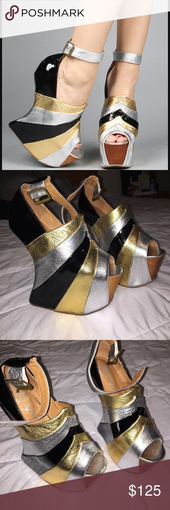 Jeffrey Campbell Rockstar Platforms Unique and edgy shoes! Worn once but have a small ding on the right toe! Silver, gold and black foiled design with ankle strap! z#0512 Jeffrey Campbell Shoes Platforms