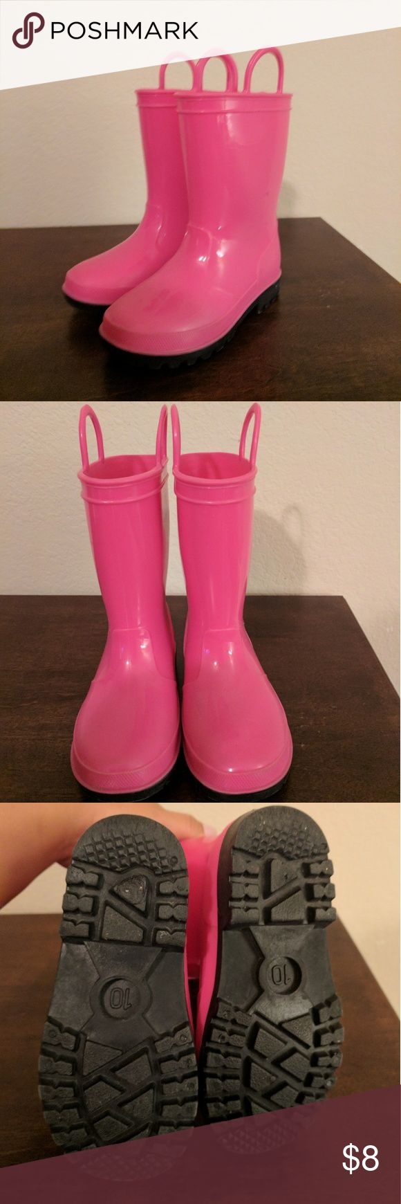 Pink Rain Boots Cute pink rain boots. Gently used. My little girl outgrew them, but they were great for splashing in puddles. Shoes Rain & Snow Boots