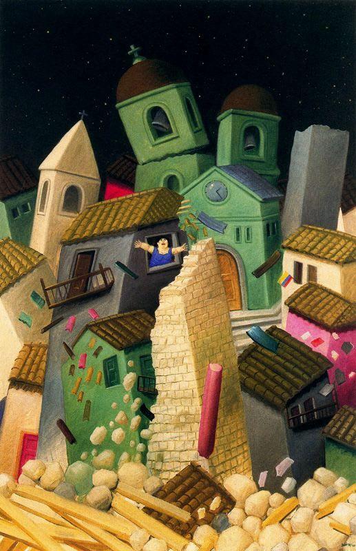 Fernando Botero, representa una ciudad donde predomina el tono amarillo y se ve que es una ciudad donde ha pasado alguna catástrofe al estar todas las casas inclinadas hacia un lado.