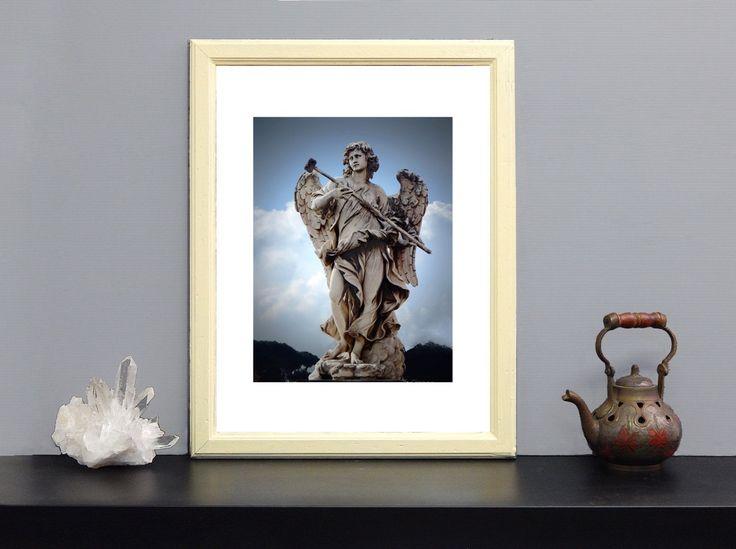 """Art print di fotografia serie: """"Gli Angeli di Roma"""" - Statua """"Angelo della spugna"""" Ponte Sant'Angelo di Roma- foto su carta speciale 200 gsm di IMMAGINEeIDEA su Etsy"""