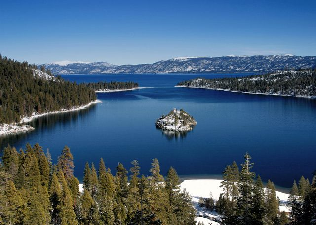 Emerald Bay, Lake Tahoe from south end. Insider's tip: Be sure to see the lake during the day, but stay to see the beautiful sunset! Avoid the casino hotels; instead, rent a house near the lake or try one of the area's elegant hotels or inns.
