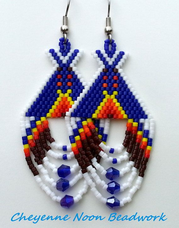 Native American Beaded Earrings Tipis Dark Blue by CheyenneNoon