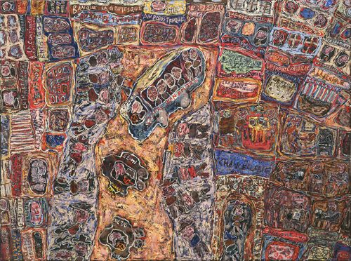 """Business Prospers Jean Dubuffet (French, 1901-1985) 1961. Oil on canvas, 65 x 7'2 5/8"""" (165.1 x 220 cm). Mrs. Simon Guggenheim Fund. © 2012 Artists Rights Society (ARS), New York / ADAGP, Paris"""
