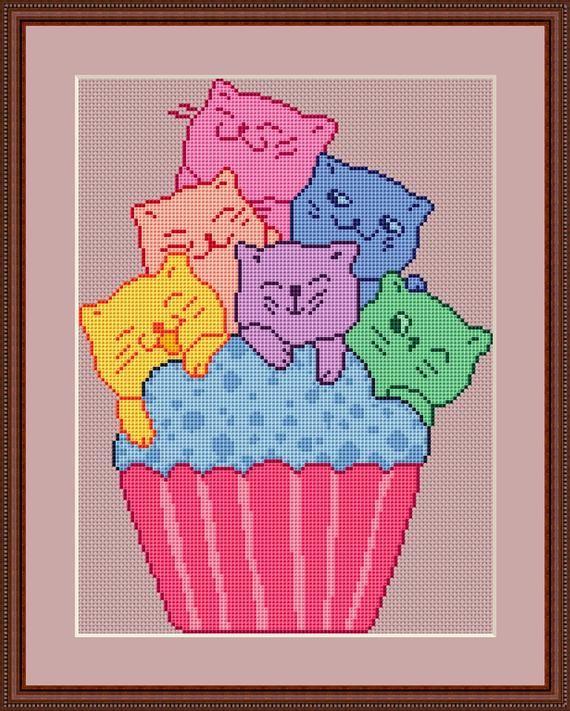Cat Cupcake Party Cross Stitch Pattern Cute Cat Kawaii Funny