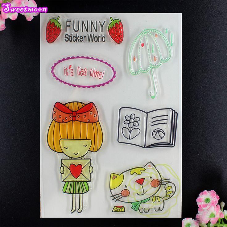 Funny Sticker World DIY Clear stamp Scrapbook photo cards account rubber stamp DIY stamp transparent stamp card Maker 11*16cm