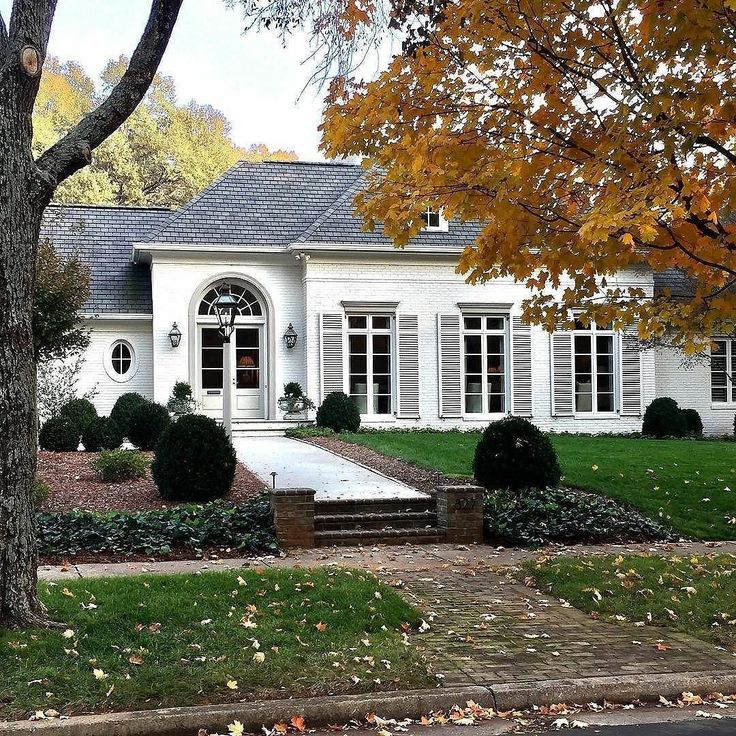 Fall is coming and we are ready for all the curb appeal! #blacksouthernbelle  Image by  @brysonthomasarchitecture  The jewel of renovations by @frank_smith_residential_design #franksmithdesign #charlotte #northcarolina #architect #architecture #landscapes #design #home #renovation #white #whitebrick #paintedbrick #shutters #monochromatic #window #door #frenchdoors #floortoceiling #ovalwindow #fall #winter #trees #leaves #boxwood #sidewalk #housebeautiful #beautifulhouse