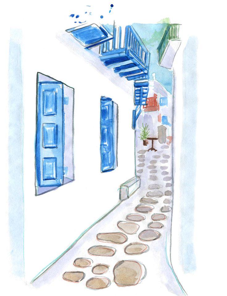 Mykonos: Travel Guide, Streets of Mykonos Town, Hora, Greece Islands, Cyclades #Mykonos #GreekIslands #GreeceVacation #travelillustration #Cyclades #travel #illustration #IrinaIllustration #IrinaSibileva #MykonosTown #Hora #travelillustrator #lifewelltravelled #Greece #Greek #Islands #Santorini #beautifulislands #CondéNastTraveller #Mykonosguide #travelblog #travelblogger #travelcolorfully #dametraveler #passionpassport #tasteintravel #traveldeeper #lifestyleguide #summervacation