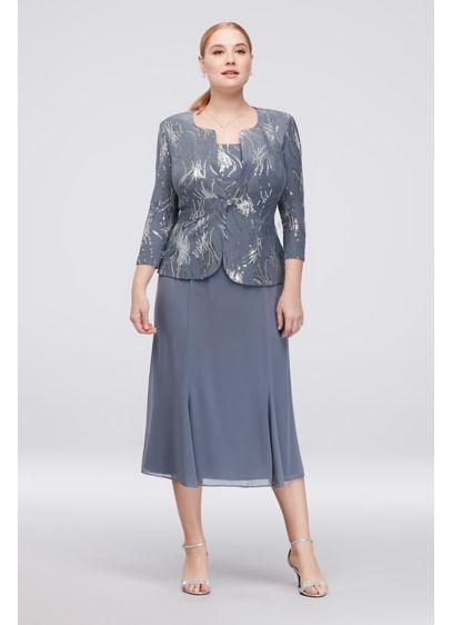 689ab100d80 Sequin Burst Plus Size Tea-Length Dress and Jacket 4962675