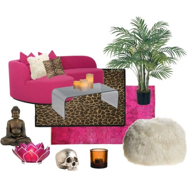 """""""pink / cheetah living room"""" by renae-kelso on Polyvore"""