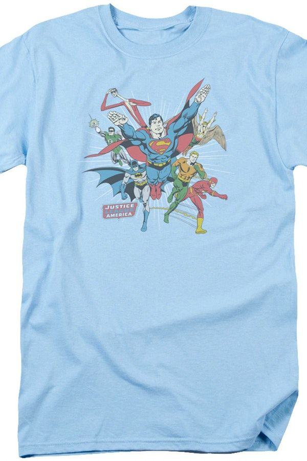 Justice League of America Geeks: Enjoy the comfort of home or travel the great outdoors in this men's style shirt that has been designed and illustrated with great art.