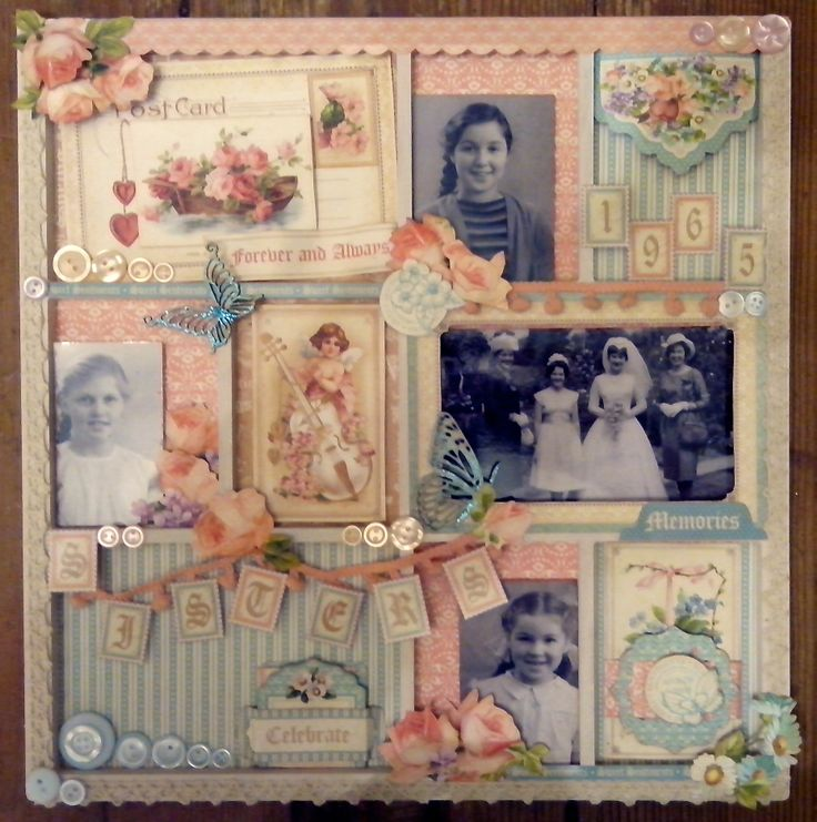 1965 Sisters ~ Feminine heritage shadow box style page created with Sweet Sentiments picture frame.