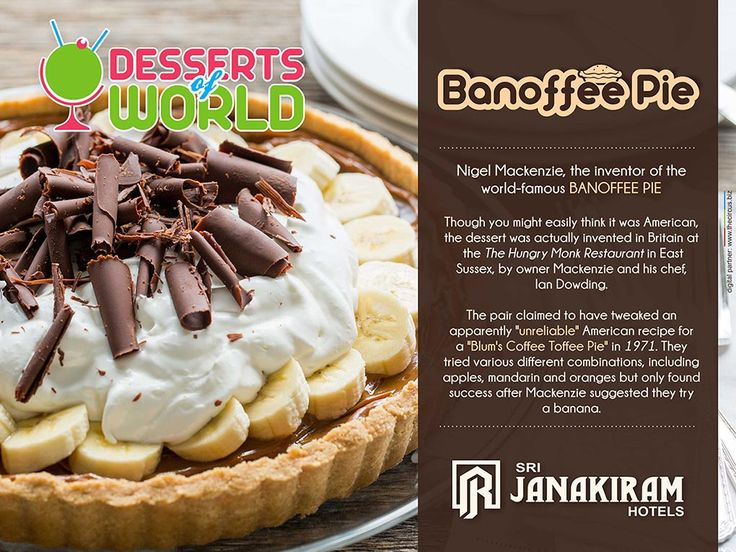 Desserts of the world BANOFFEE PIE-is an delicious English dessert, made with fresh bananas, toffee filling & crumbly biscuit.   Lets Know more about this dessert.   ‪#‎srijanakiram‬ ‪#‎desserts‬ ‪#‎‬Banoffee_pie