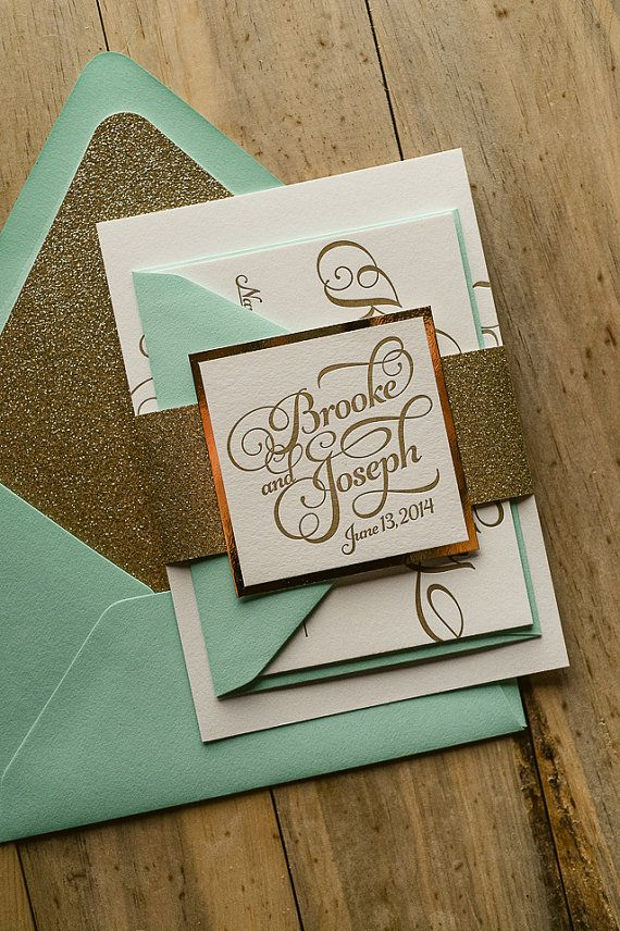 mint wedding invitations mint amp gold glitter letterpress wedding invitation gold 5958