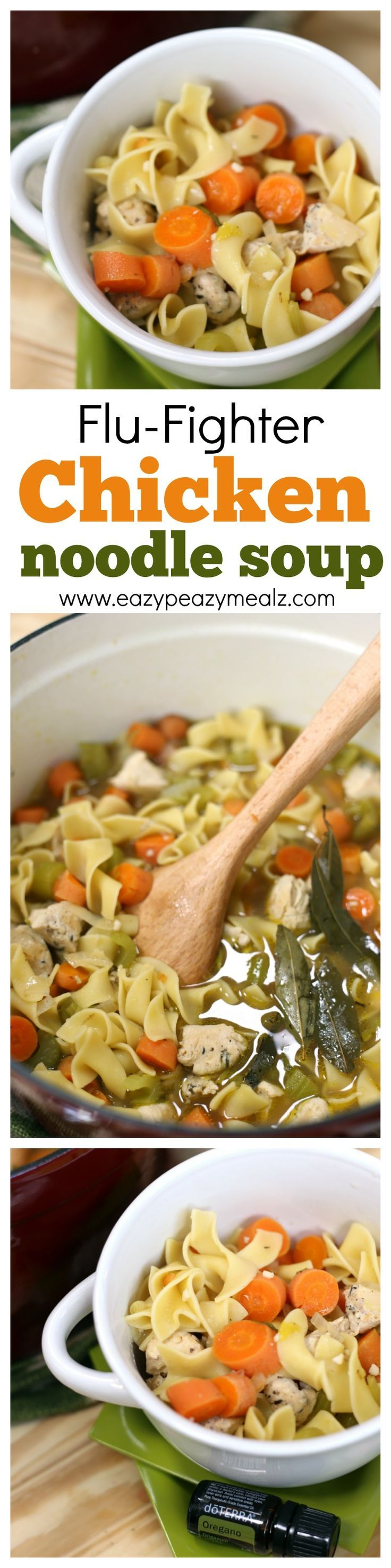 Chock full of healthy ingredients that will boost the immune system and help stave off illness, this Flu-fighter chicken noodle soup is delicious! And easy to make. #ad - Eazy Peazy Mealz