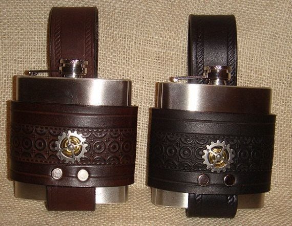 Steampunk Gear hip flask 6 oz.  leather whiskey by TheGriffinWorks, $40.00