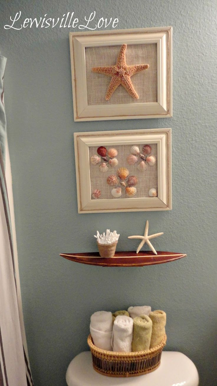 Beach bathroom decor - Wall Art With Shells Beach Bathroom Ideas I Love The Bottom Frame And How The Shells Look Like Little Flowers
