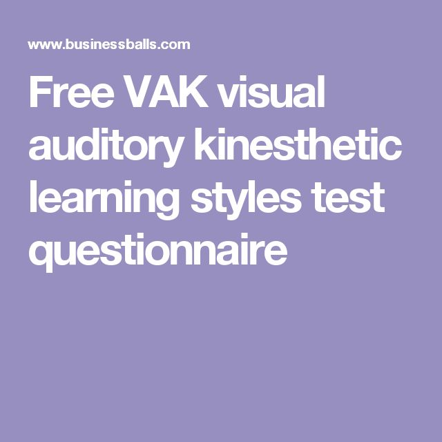 Free VAK visual auditory kinesthetic learning styles test questionnaire