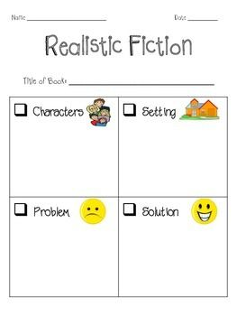 These are cute FREE graphic organizers to go along with realistic fiction books!