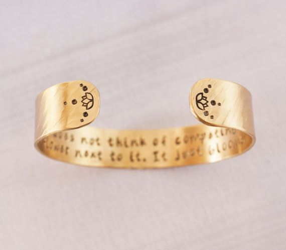 A flower does not think of competing with the flower next to it, brass lotus flower quote cuff bracelet by ZennedOut