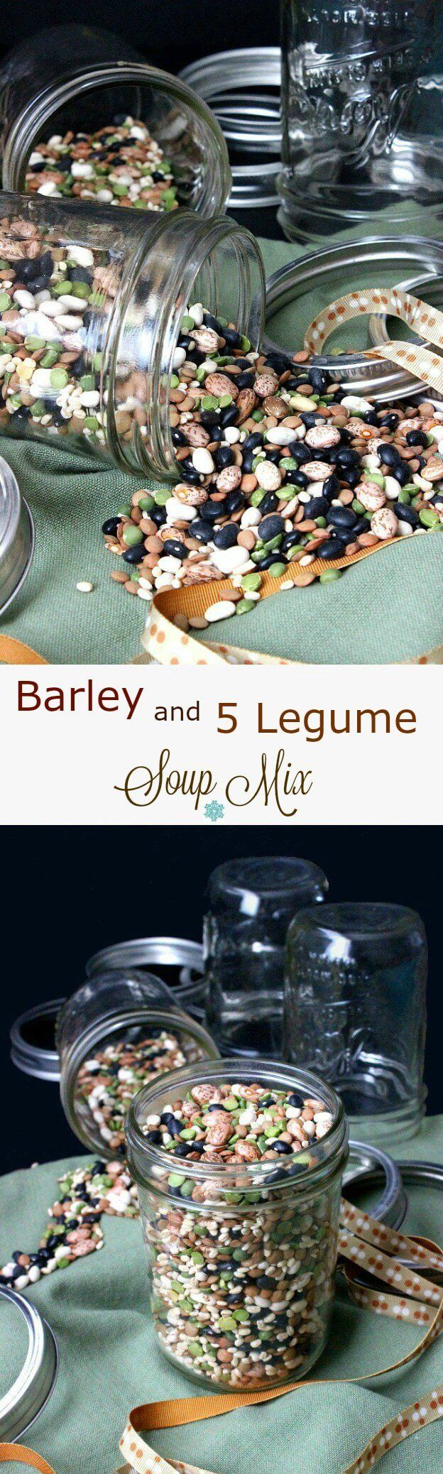 Barley and 5 Legume Soup Mix is an easy and updated gift. So pretty on the counter or fill jars as a gift for loved ones and attach the recipe.