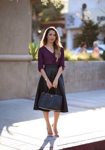 purple button down with skirt
