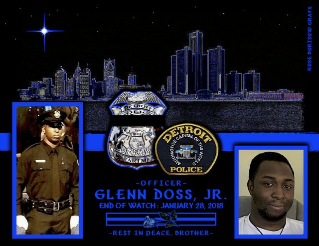 Chief James Craig of the Detroit Police Department sadly reports the death of Officer Glenn Doss Jr. Wednesday, January 24, Officer Glenn Doss, 25, responded to a domestic assault in progress with a weapon and shots fired, late in the evening.