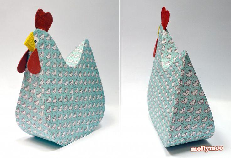 MollyMooCrafts Papier Mache Hens - MollyMooCrafts