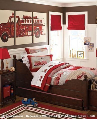 LOVE this!!: Fire Trucks, Kids Room, Kidsroom, Boy Rooms, Firetruck, Boys Room, Bedroom, Boysroom