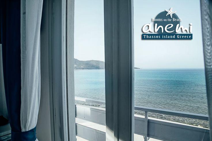 The sea view balcony of Anemi Rooms to Let on the Beach of Skala Potamias on Thasos island Greece. Tel.: +30 25930 61 480, +30 6947 589 555 E-Mail: anemithassos@gmail.com Ενοικιαζόμενα δωμάτια στην Παραλία Χρυσή Ακτή της Σκάλας Ποταμιάς, Θάσος.