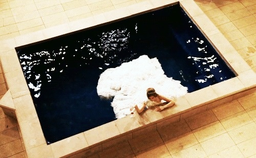Naomi is so fabulous, she can sulk in a pool wearing an expensive wedding dress