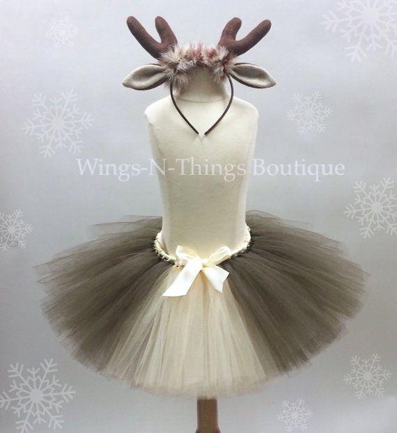 ADULT REINDEER Tutu Skirt Set w/ Antler Headband by wingsnthings13