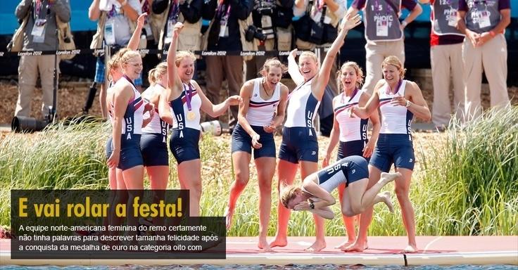 A equipe norte-americana feminina do remo certamente não tinha palavras para descrever tamanha felicidade após a conquista da medalha de ouro na categoria oito com