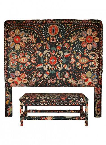 From Seret and Sons - my favorite store in the whole world.  Headboard & Bench - Black Uzbek Suzani - UP1459