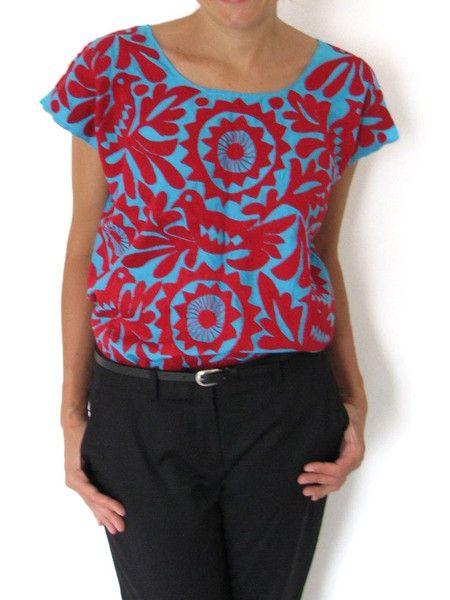 Hand Embroidered Itzca Blouse   Blusa Itzca Bordada a Mano   Chiapas Bazaar…