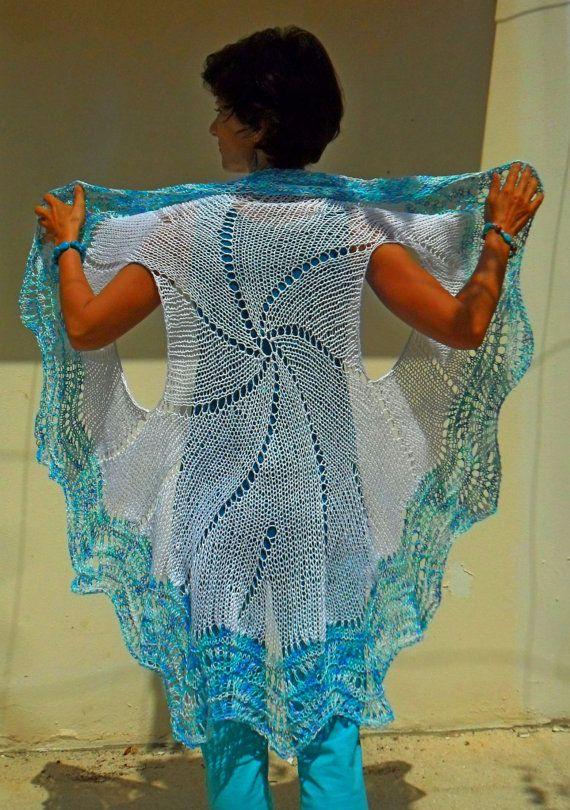 Mandala white and turquoise shades cotton by SimonaStyleByHand