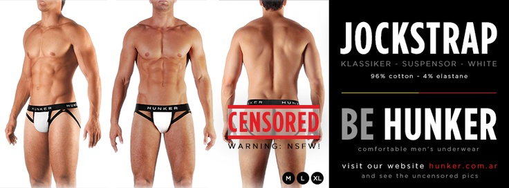 Jockstrap (Suspensor) White, 96% Cotton - 4% Elastane. SHOP ONLINE (we ship worldwide) www.hunker.com.ar