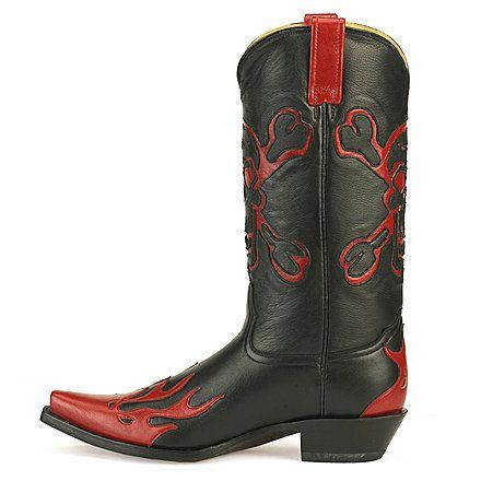 Cowboy Boots with skulls for men Black and Red Skull Corral cowboy boots