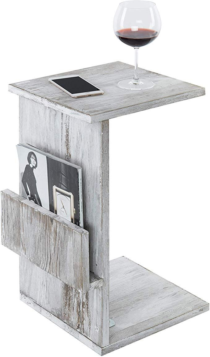 Mygift Rustic Torched White Wood Sofa Side Table With Magazine Holder Rack And Under The Couch Sliding Tray Review Sofa Side Table Wood Sofa Side Table