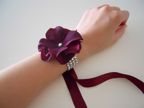 Sangria Hydrangea Wrist Corsages with Rhinestone Bracelet on Etsy, $8.99