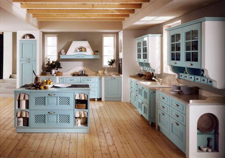 Cucine in muratura rustiche e moderne (Foto 32/40) | Design Mag MI piacciono i cassetti e il colore azzurro/bianco