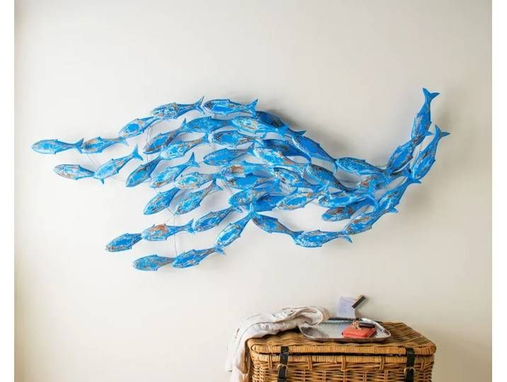 Die Faktorei Deko Wandobjekt Fischschwarm Blau Aus Albesia Holz In