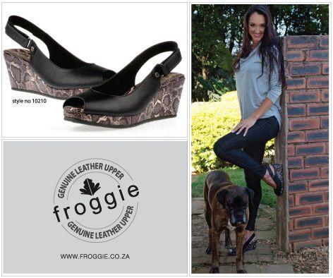 Ladies Black Sling Back Wedge Peep Toe by Froggie Shoes.