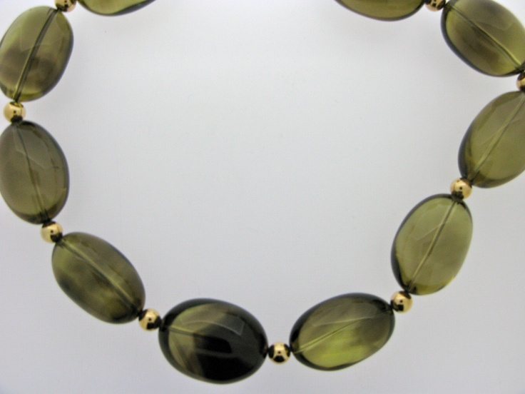 Smokey quartz and 9ct gold necklace, part of our new Winter 2012/Christmas collection!