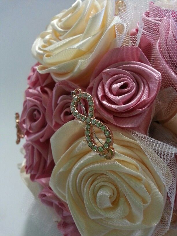 Dusty pink & cream ribbon bouquet with a hint of gold. #WeddingBouqet