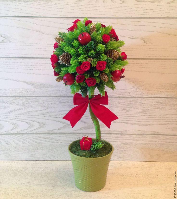 """Купить Топиарий новогодний""""Красный бант"""" Подарок, сувенир - ярко-красный, Дерево счастья, новогоднее дерево"""