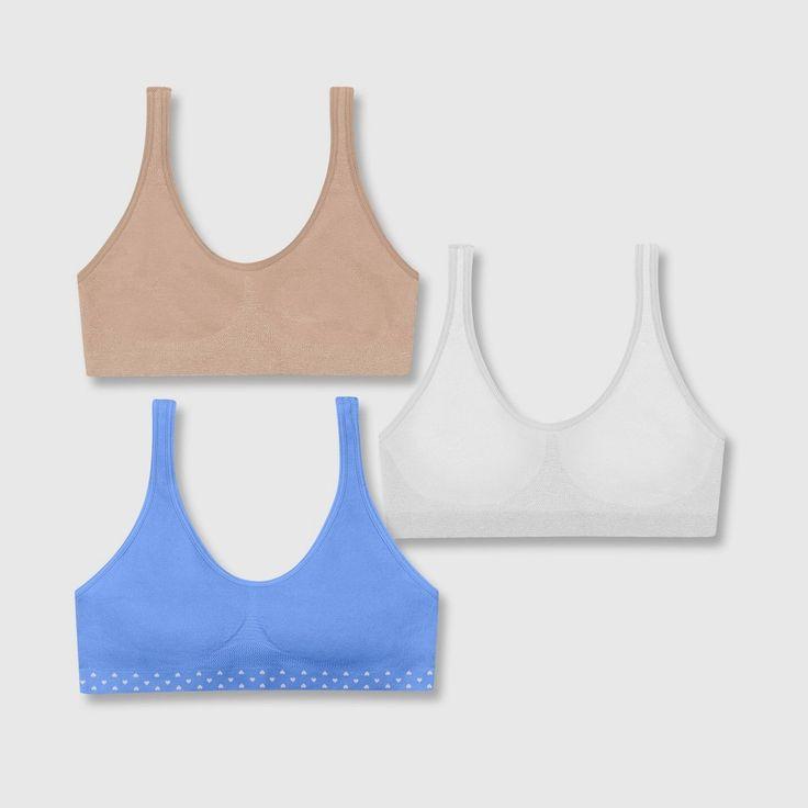 Hanes Girls' 2+1 Bonus Pack Seamless Pullover Bra – Magenta XL, Girl's, Pink