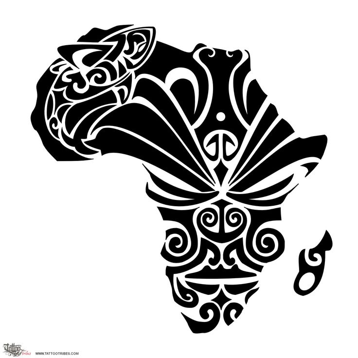 African dream    Vita requested an Africa-shaped tattoo with Maori fillings representing a facial mask (moko) and a shark.    We thought of drawing the mask of a thoughtful warrior, and the shark being like his dream.    Madagascar then becomes the warrior´s ear, with pierced earlobe.