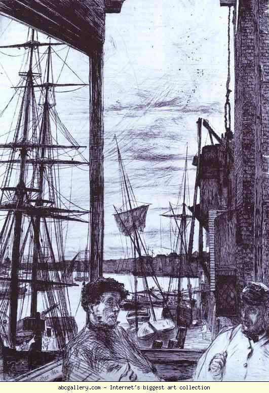 Rotherhithe, 1860, etching, James Whistler