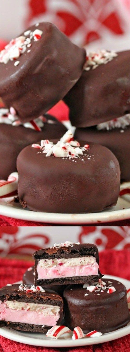 These Oreo Peppermint Ice Cream Bonbons from SugarHero! are so easy and so delicious. Minty Oreos are filled with peppermint ice cream, dunked in chocolate, and topped with crushed candy canes!