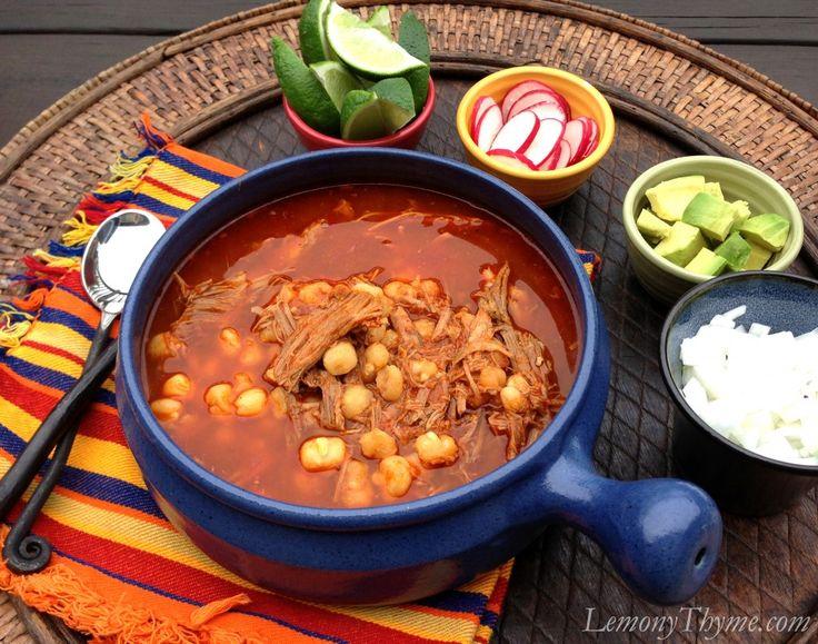 Pozole Rojo {Pork & Hominy Stew} | Lemony Thyme